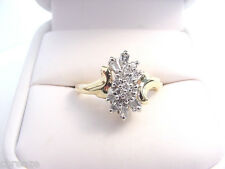BEAUTIFUL ESTATE BAGUETTE and ROUND DIAMOND CLUSTER  .33 TCW 14K GOLD RING