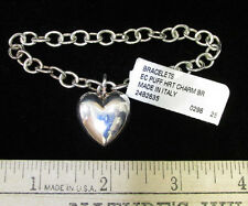New Ec Puff Heart Charm Silver Chain Link Bracelet Made In Italy Retail $100