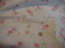 """Vintage Cotton Fabric SHADES OF PINK FLORAL,tURQUOISE ON WHITE 1 Yd/42"""" Wide"""