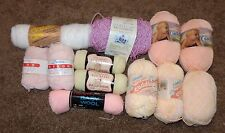 MIXED LOT OF 12 SKEINS OF YARN CARON RED HEART WOOL BERNAT DAWN CUDDLESOFT BABY