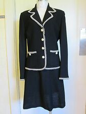 ST JOHN COUTURE UNLINED 2-PIECE BLACK & WHITE TRIM JACKET AND SKIRT SET, SIZE 10