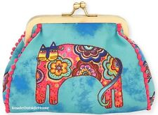 Laurel Burch Bohemian Whiskers Cat Coin Purse 5.5x4.75 Multi on Blue NEW 2017
