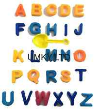 28pc Alphabet in Sand Moulds with Spade in Bag Beach Sand Pit Table Fun Holiday