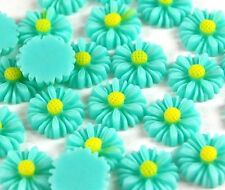 25pcs Green Flowers Resin Flatbacks Scrapbooking Cabochons Bow Jewelry Making