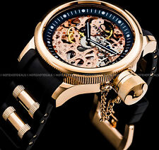 Invicta Russian Diver Mechanical Skeleton Exhibition 18k Rose Gold IP PU Watch !