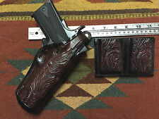"Colt RIA Remington Ruger 4.25"" 1911 Holster & Magazine Pouch 45 Floral Scroll"