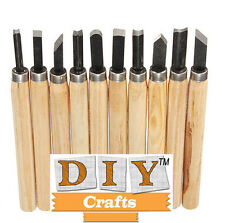 DIY Crafts 10 pcs Wood Handle Carving Mini Chisels Kit Handy Cutting Tools Set.