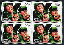 1987 Aussie Kids Football Supporters SG1088 Block of 4 MUH Mint Stamps Australia