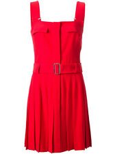 NEW Authentic Alexander McQueen Red Pleated Belted Crepe Dress RRP£1345