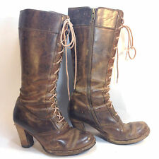 massively trashed FRYE Parker brown leather grunge broken lace up side zip boots