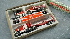 COCA COLA SET TIN TOY TRUCK FORKLIFT SEMI TRAILER METAL PLASTIC 70'S ORIGINAL