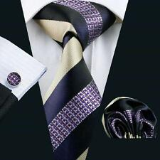 NEW ITALIAN DESIGNER PURPLE/CREAM STRIPE SILK TIE, HANKY, CUFFLINKS