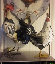 Rooster & Hen Chicken Metal Sculptures French Country Figurines Home Decor