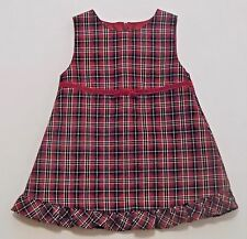 """Gymboree """"Victorian Charm"""" Vtg Red Plaid Ruffled Holiday Occasion Dress, 6-12 mo"""