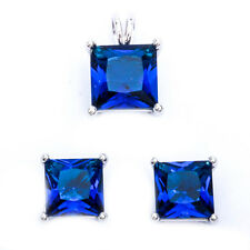 Princess Cut Blue Sapphire .925 Sterling Silver Earring & Pendant Jewelry set