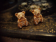 Butler & Wilson Vintage Jewellery Crystal and Gold Teddy Bear Clip  Earrings