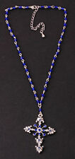 AMAZING 'ROSARY' STYLE SILVER/BLUE CHOKER CHIC SPARKLY CROSS PENDANT (ZX25)