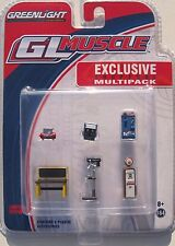 GREENLIGHT GL MUSCLE EXCLUSIVE SHOP TOOL MULTIPACK VINTAGE GAS PUMP SODA MACHINE