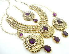 TRADITIONAL PURPLE PEARL GOLD TONE NECKLACE SET BOLLYWOOD BRIDAL PARTY JEWELRY
