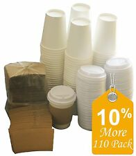 Paper Coffee Hot Cups Paper Cups With Lids and Sleeves (Sugarman Creations) 12oz