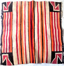 ANTIQUE NAVAJO RUG Native American Old HORSE SADDLE BLANKET Striped Brown Early