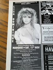 Lisa Dominique Marquee London Live Tour Advert 80s Half Page from Music Magazine