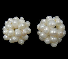 1 PC  Ball Cluster Cultured Pearl Beads Freshwater Pearl Round White 18mm