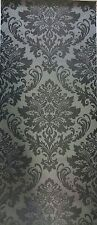 EXCLUSIVE ELEGANCE BLACK AND GREY DAMASK LUXURY TEXTURED WALLPAPER 130811