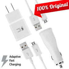 Original Samsung Note 5 4 2A Fast Charger Kit Home + Car + 2 5FT Data Cable