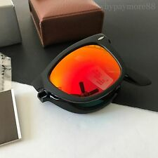 Ray-Ban RB4105 The Icons Black Folding Mirrored Wayfarer Sunglasses NWT Italy