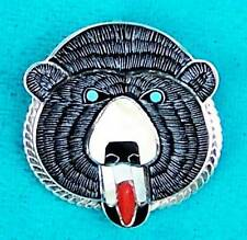 """ZUNI SPIRIT BEAR FACE"" NATIVE AMERICAN INLAID BROOCH PIN PENDANT"