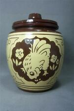 Vintage Asian TEA JAR, Red Clay Tan on Brown Embossed Design Goat/Koi/Hen ExCond
