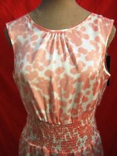 Pretty Pink & White Floral Spotted Satin Lightweight Floaty Dress S/M Holiday