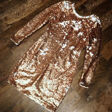 Oasis Rose Gold Silver Sequin Long Sleeve Zip Dress Evening XS 6 8 Party