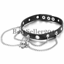 Rock Punk Rivet Gothic Skull Chain Buckle Black Leather Choker Collar Necklace