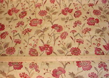 KRAVET ROSE RED / SIENNA RED / TAN FLORAL TAPESTRY UPHOLSTERY FABRIC