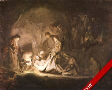 PLACING JESUS BODY IN THE TOMB PAINTING CHRISTIAN BIBLE ART REAL CANVAS PRINT