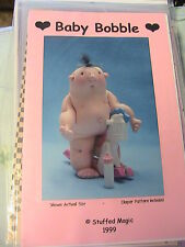 """BABY BOBBLE with DIAPER~Meo Feroy *RARE & OOP 1999~4"""" cloth art doll pattern"""