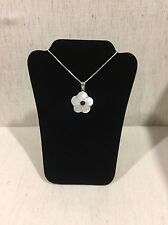 925 Sterling Silver Mother of Pearl Shell & Garnet Flower Pendant & Chain
