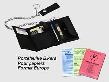Portefeuille Noir Biker Cuir Confort Europe Uni GF moto Harley leather wallet