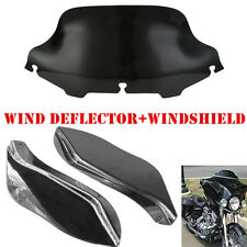 Black 8'' Windshield + Wind Deflector Fairing Air Wing For Harley Touring Models