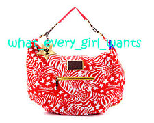 $98 NEW BETSEY JOHNSON Red Star Zebra Stripes Large Handbag Tote Purse Bag NWT
