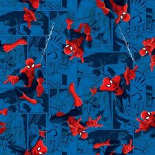 "Marvel Spiderman Toss 100% cotton 44"" wide fabric by the yard"