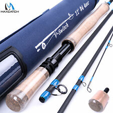 Fly Fishing Switch Rod 11FT 4WT 4Sec Switch Fly Rod 2Handed & Cordura Rod Tube
