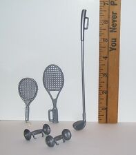 OLDER BARBIE KEN DOLL GRAY BAR BELLS TENNIS RACKET & GOLF CLUB ACCESSORY LOT