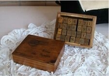 Lot of 28PCS Vintage Wood Letter Alphabet Rubber Stamps Wooden Box Set AB