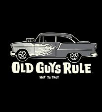"""OLD GUYS RULE """" HOT TO TROT """"  1955 CHEVY V8 MUSCLE CAR FLAMES ON LONGSLEEVE M"""