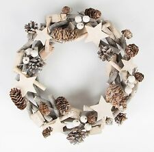 SASS & BELLE  WHITE CHRISTMAS ICY WREATH DOOR WALL HANGING RUSTIC