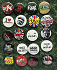 PUNK COLLECTION 20 BUTTON BADGES 1INCH / 25MM NEW WAVE POSTER OI ROCKERS FANCY