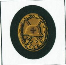 WWII German Gold Wound Badge Iron Cross Fabric Printed Repro Patch Heer Waffen